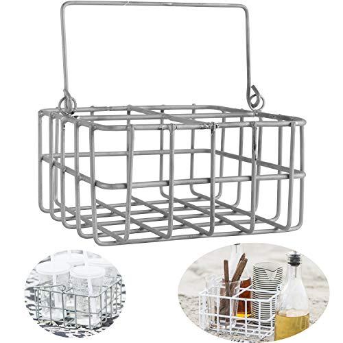 LS-LebenStil Draht-Korb Deko-Korb Metall-Korb 16x16x8cm Grau Aufbewahrung (Antik-quadrat-draht-körbe)