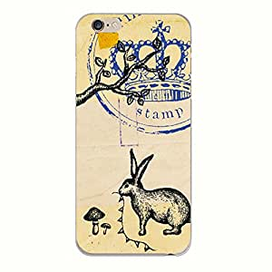 Hamee Designer Case from Japan Thin Fit Crystal Clear Transparent Protective Plastic Hard Cover for iPhone 6 / 6s (Rabbit Post / Brown x Blue)