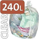 Strapazierfähige, durchsichtige Müllbeutel von Alina, Fassungsvermögen von 240 l, aus Polyethylen, für Mülltonnen mit Rädern / ENSA-Müllsack / schwerer 240-Liter-Kunststoffmüllsack, 100 sacks