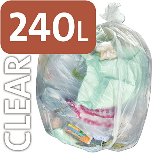 Bolsa de plástico transparente resistente Alina, 240 litros, para contenedores con ruedas, bolsas de basura, saco compacto ENSA, resistente, 240litros, bolsa de basura de plástico transparente, 25 sacks