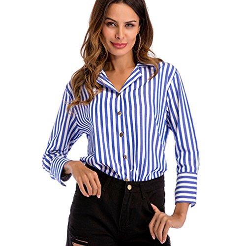 Niseng donna righe verticali camicie risvolto maniche lunghe camicia bottoni camicia casual top blu xl