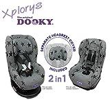 Original DOOKY 2in1 Sitzbezug ** UNIVERSAL Schonbezug für z.B. Maxi Cosi TOBI und Sitze der Gr. 1 ** GREY STARS **