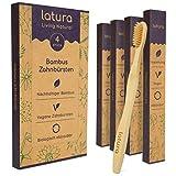 Latura® Bambus Zahnbürsten - 4er Set mittel weiche, nachhaltige Holzzahnbürsten - Umweltfreundliche Bambuszahnbürsten ohne Plastik - 100% BPA frei, natürlich, vegan, biologisch abbaubar, recycelbar