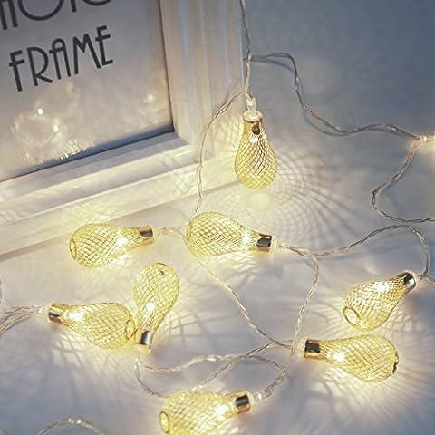 Veesee arte del hierro hueco 40 LED de la gota del agua en forma de luces de Cuerda (plata)