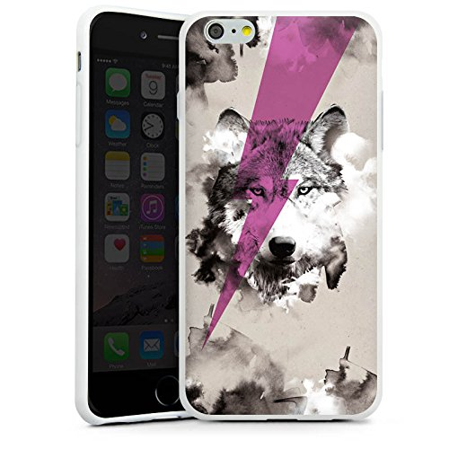 Apple iPhone X Silikon Hülle Case Schutzhülle Hipster Wolf Blitz Silikon Case weiß