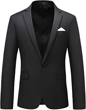 YOUTHUP Mens Slim Fit Blazer 1 Button Formal Suit Jacket Classic Business Wedding Dress Tuxedo Blazers