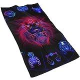 Louan towels Leo Neon Horoscope Circle Mikrofaser-Haartuch, einzigartiges, vom Designer designtes, bedrucktes Handtuch, schnelltrocknendes Handtuch, Sporthandtuch