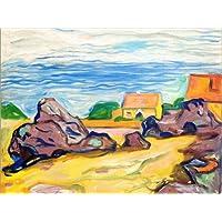 POSTERLOUNGE Cuadro sobre lienzo 80 x 60 cm: Oslo and Red Houses de Edvard Munch - cuadro terminado, cuadro sobre bastidor, lámina terminada sobre lienzo auténtico, impresión en lienzo