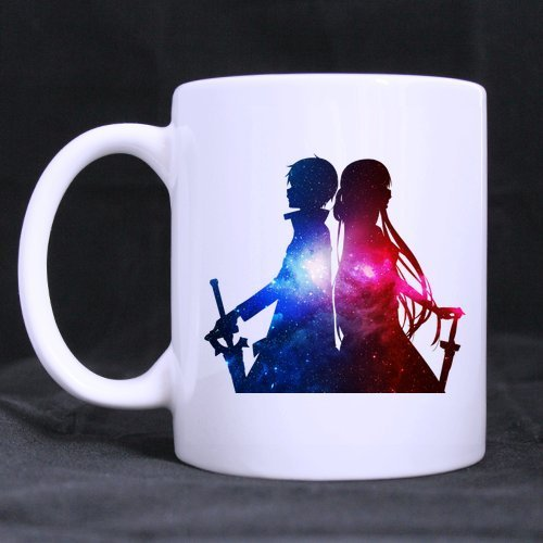 Cartoon Sword Art Online Kirito and Asuna Outer Space Custom White Coffee Mug Tea Cup 11 OZ Office Home Cup (Printed on Two Sides) ()