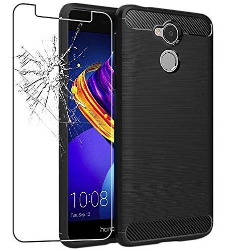ebestStar - Huawei Honor 6C Pro Hülle Kohlenstoff Design Schutzhülle, TPU Handyhülle Flex Silikon Case, Schwarz + Panzerglas Schutzfolie [Phone: 147.9 x 73.2 x 7.7mm, 5.2'']