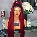 Frauen Echthaar Hair Lace Wig brasilianisches Echthaar Full Lace 130% Dichte Layered Haarschnitt mit Baby Haar gerade Perücke schwarz/rot kurz medium