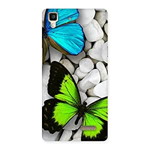 Enticing Butterflies Green Blue Back Case Cover for Oppo R7