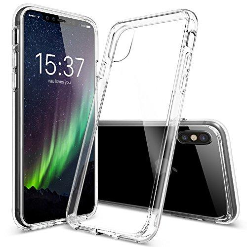 iPhone X Hülle - vau Hybrid Case Schutzhülle transparent - stabile Rückseite und flexibler Rahmen mit Airbagfunktion (Rückseite Aluminium-iphone 4)