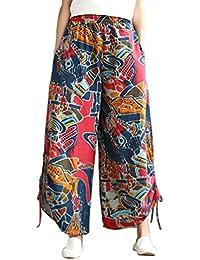 PLUS Size Donna Motivo Barocco Gamba Larga Sciarpa Stampa Palazzo Pantaloni Pants