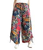 LvRaoo Damen Casual Bequem Palazzo Hosen Weite Bein Hose Elastische Taille Übergröße Gedruckt Trousers Freizeithose (Weinrot, One Size)