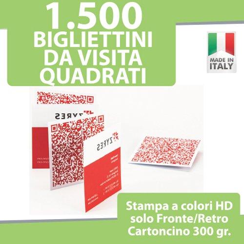 1500 BIGLIETTI DA VISITA QUADRATI Bigliettini STAMPA FRONTE e RETRO a COLORI personalizzati printerland.it