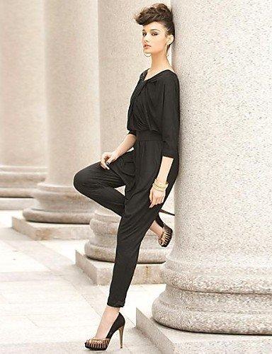 GSP-Combinaisons Aux femmes Manches ¾ Sexy / Vintage / Travail / Décontracté Polyester / Spandex Moyen Elastique black-one-size