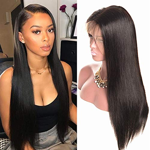 Echthaar perücke Human Hair 360 lace front wig straight smooth natural hair Echthaarperücken für schwarze Frauen real remy brazilian hair (22 inch/55 cm, Natürliche) -