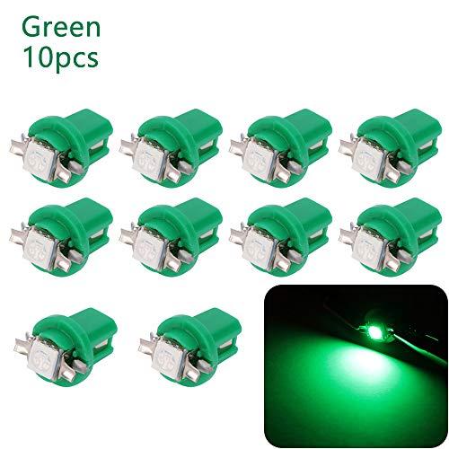10pcs B8.5D 509T B8.5 5050 1 SMD T5 Car tachimetro del precipitare della lampadina Auto cruscotto lampada dello strumento del cuneo della luce Lampada interna (verde)