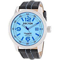 Sector Men's Quartz Watch with Blue Dial Analogue Display and Black Leather Bracelet R3251102014