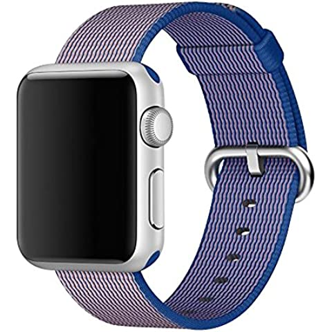Cuitan Correa para 38mm Apple Watch, Trenzado de Nylon Correa de Reloj con Acero Inoxidable Adaptador Reemplazo Banda de Muñeca Watchband Wristband Watch Band Strap para 38mm Apple Watch/Sport/Edition - Azul