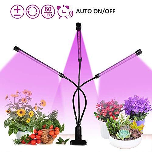 Pflanzenlampe 30W, 60 LED Pflanzenlampe Grow Lampe Vollspektrum Pflanzenlicht mit Automatische Zeitschaltuhr, 3 Timer 3H/6H/12H, Dimmbar 5 Lichtstärken für Zimmerpflanzen, Hydrokultur, Gewächshäuser
