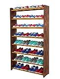 Schuhregal Schuhschrank Schuhe Schuhständer RBS-8-90 (Seiten dunkelbraun, Stangen in der Farbe erle)