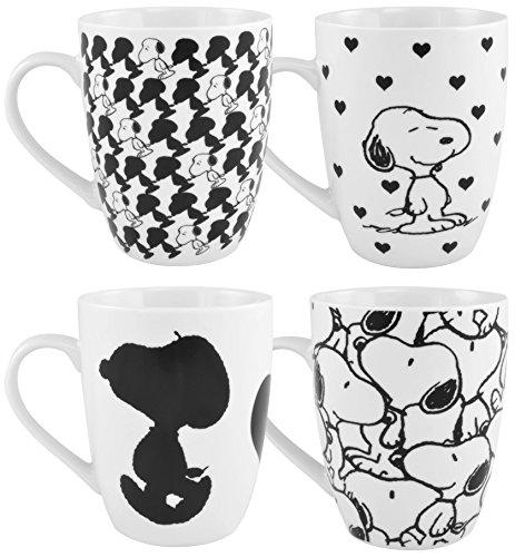 Peanuts 0121750 Kaffeetassen Snoopy, 4-er Set, Porzellan, weiß