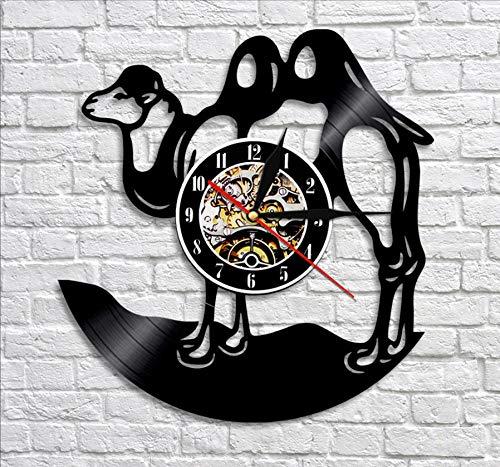Wild-tier-silhouette (ClockHM Kamel Schatten Silhouette Wanduhr wildes Leben Tier Schallplatte Uhr Bactrian Kamel Kinderzimmer Wand Kunst Dekor für Schlafzimmer)