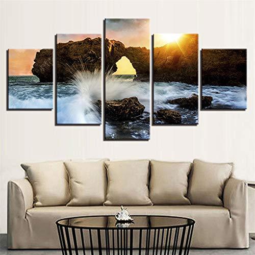 Malerei,Kombination Inkjet Strand Fels Landschaft Moderne Zuhause Schlafzimmer Mode Hintergrund Malerei Wandmalereien 3 Malerei Kern 10x15cmx2 10x20cmx2 10x25cmx1 ()