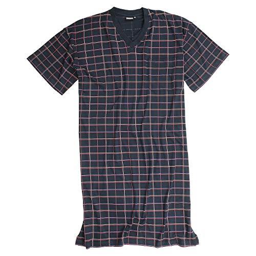 Kurzarm-nachthemd (ADAMO Kurzarm-Nachthemd 'Dieter' dunkelblau kariert bis Übergröße 10XL, Größe:5XL)