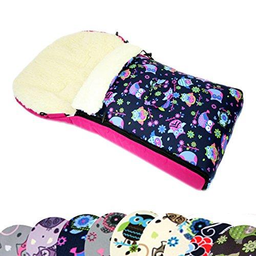 BAMBINIWELT universaler Winterfußsack (90cm oder 108cm), auch geeignet für Babyschale, Kinderwagen, Buggy, aus Wolle im Eulendesign (108cm, 7)