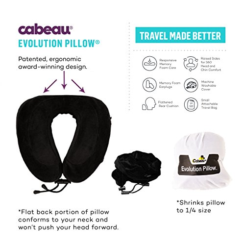 "*NEW* CABEAU Memory Foam ""Evolution Pillow"" – The Travel Pillow That Works! Includes Small Bag, Raised Side Supports, Flat Rear Neck Cushion, Washable Cover, Media Pouch, and More – BLACK"