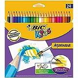 Bic Kids AquaCouleur - Pack de 24 lápices de colores de madera, multicolor