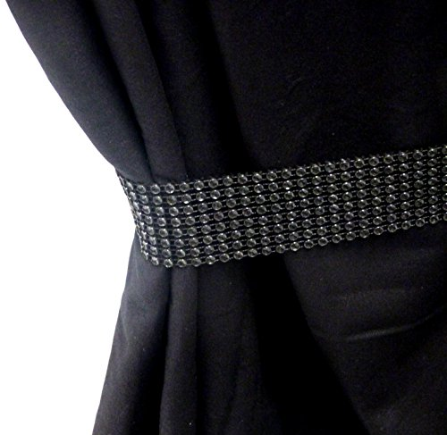 Negro Diamante Brillante Cortina Alzapaños par (X2)