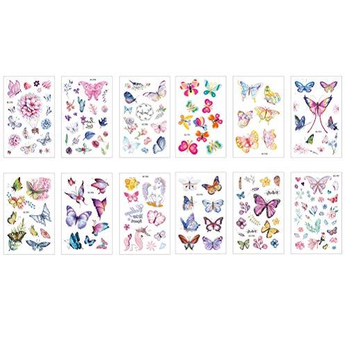 Kinder Tattoos Aufkleber 12 Blatt Schmetterling Tattoo Set wasserdichte Kinder Tattoos Bunte Aufkleber ()