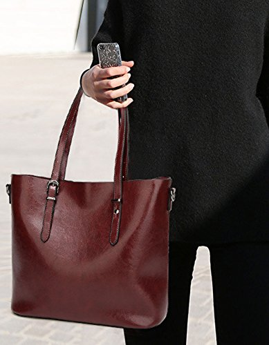 Rovanci Damen Handtasche Leder Umhängetasche Vintage Schultertasche große Shopper Taschen Green Coffee