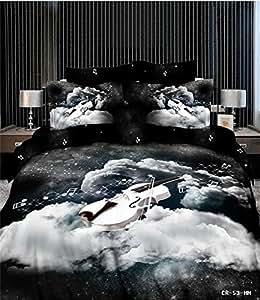 piano les draps/housse de couette/chambre de peinture à l'huile/Parure de lit Lit pour Lit 3d/3d/textile 3d
