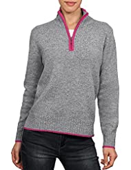 Wool Overs Pull femme à col zippé et à finitions contrastées en laine d'agneau