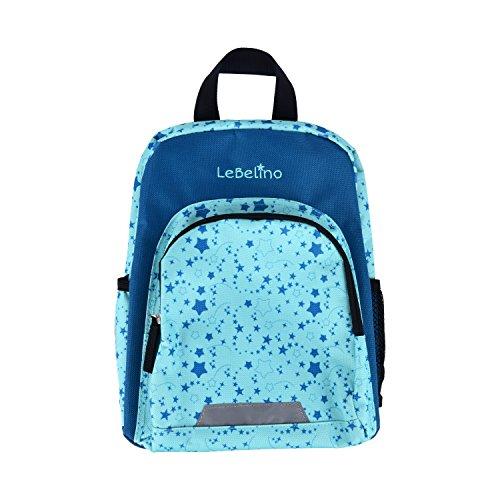 LeBelino Kindergartenrucksack mit Brustgurt für Jungen und Mädchen von 2-5 Jahren | Kinder-Rucksack für Krippe, Kita und Freizeit | Sterne, mintgrün