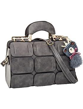 Frauen Nahtset Nahtmaterial Boston Taschen geneigt Handtaschen Schulter Messenger Kissen Bag PU Leder grau