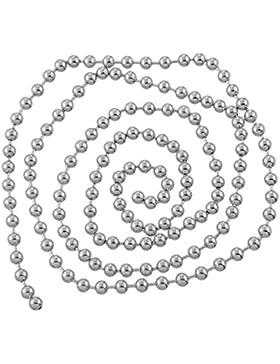 Housweety 2M Edelstahl Kugelkette 5mm Schmuck Silberfarbe Massiv Rostfrei