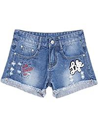 YiLianDa Suelto Ocio Pantalones Cortos Verano Playa Shorts Elegantes Denim Pantalón Corto Mujer