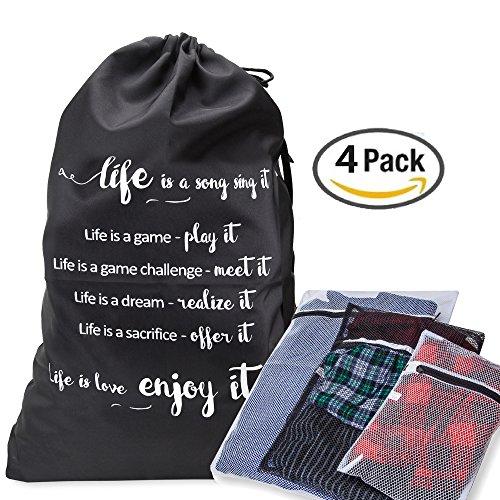 Feinwäsche Wäschesack kombiniert mit 3Mesh Wash Taschen für Dessous/Unterwäsche Heavy Duty Material mit Kordelzug und Schultergurt–ideal für College Waschsalon und Haushalt Aufbewahrung (Strumpfhosen Antimikrobielle)