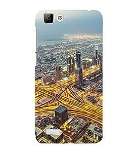 Takkloo view of city buildings,lightened roads, sea side) Printed Designer Back Case Cover for Vivo V1