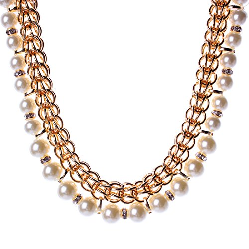 Femme Luxe Alliage Imitation Perle Strass Collier white