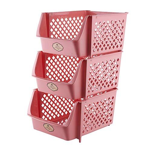Vegetable rack 3-Lagiger KüChenkorb Aus Kunststoff, Stapelbarer GemüSe- Und Obstkorb, Mehrlagiger BadezimmerstäNder, Vier Farben