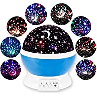 KDR Romantic Sky Star Master Night Light Projector Lamp with USB 9 Colour 4 LED Rotation (Multi)
