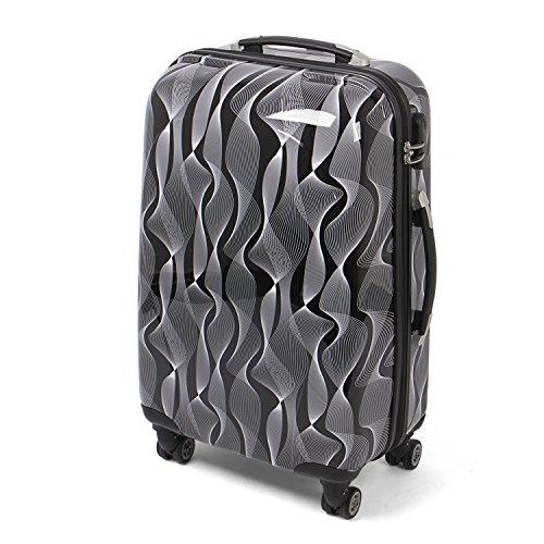 MasterGear Hartschalenkoffer mit Motiv in schwarz/weiß, Design Koffer in Größe M, Koffer 4 Rollen (360 Grad), Trolley, Reisekoffer, ABS Koffer Hartschale mit Zahlenschloss