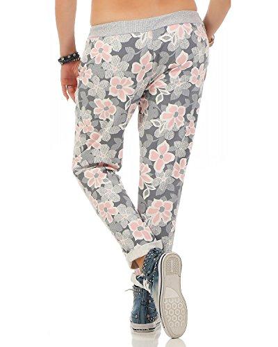 ZARMEXX Damen Sweatpants Baggy Hose Boyfriend Freizeithose Sporthose All-Over Roses Print One Size Floral 6